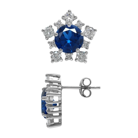 Created Blue Sapphire and CZ 925 Sterling Silver Snowflake Post Earrings