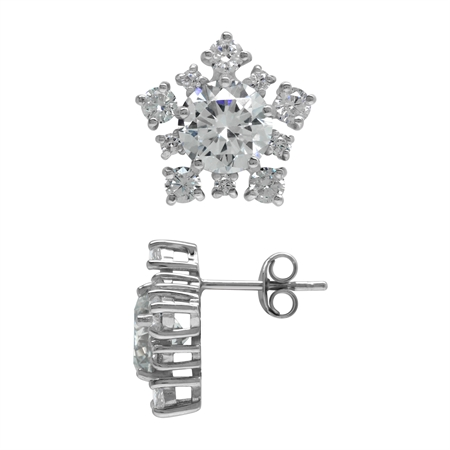 6.9 CT White CZ 925 Sterling Silver Snowflake Post Earrings
