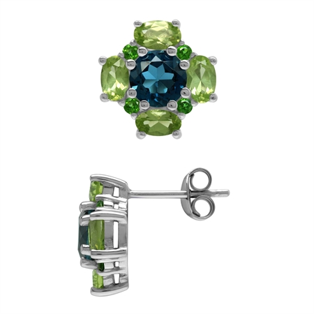London Blue Topaz Peridot and Chrome Diopside 925 Sterling Silver Flower Post Earrings