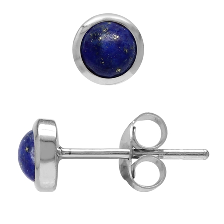 Natural Petite 4mm Blue Lapis Lazuli Sterling Silver Stud Earrings