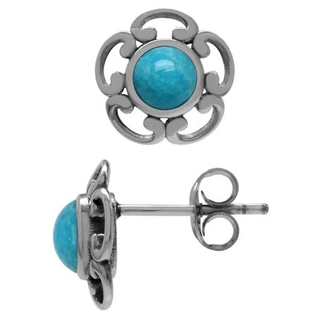 Genuine 5mm Blue Arizona Turquoise 925 Sterling Silver Victorian Inpired Stud Earrings
