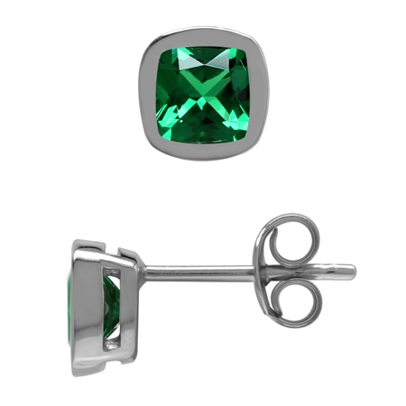 Created 5 mm Cushion Shape Green Nano Emerald 925 Sterling Silver Stud Earrings