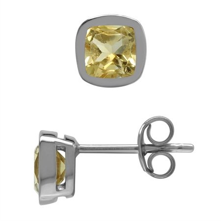 Genuine 1.1 ctw 5 mm Cushion Shape Citrine 925 Sterling Silver Stud Earrings