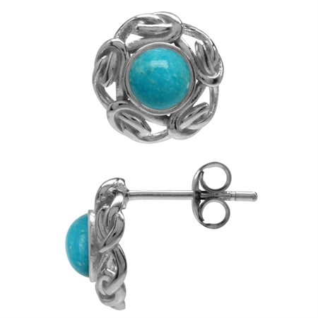 Genuine Arizona Turquoise 925 Sterling Silver Celtic Weave Post Earrings