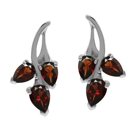 Natural Red Garnet 925 Sterling Silver Flower Post Earrings