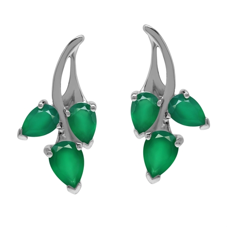 Genuine Emerald Green Agate  925 Sterling Silver Flower Post Earrings