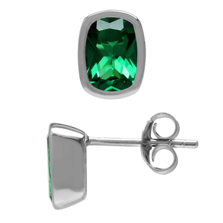 Created Cushion Shape 7x5 mm Nano Green Emerald 925 Sterling Silver Stud Earrings