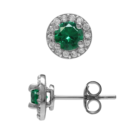 Round 5 mm Nano Green Emerald 925 Sterling Silver Halo Post Stud Earrings