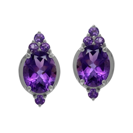 Antique Style 5 Ctw Genuine Purple Amethyst Gem 925 Sterling Silver Stud Post Earrings