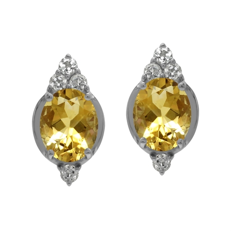 Antique Style Oval 10x8 mm Genuine Yellow Citrine Gem 925 Sterling Silver Stud Post Earrings