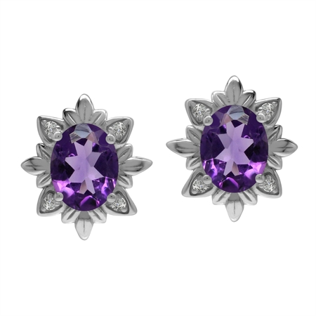 Imperial Style 3.2 Ctw Genuine Purple Amethyst Gem 925 Sterling Silver Stud Post Earrings