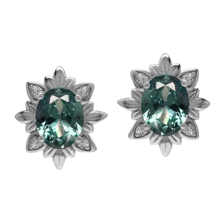 Imperial Style 4.4 Ctw Created Color Change Alexandrite Gem 925 Sterling Silver Stud Post Earrings