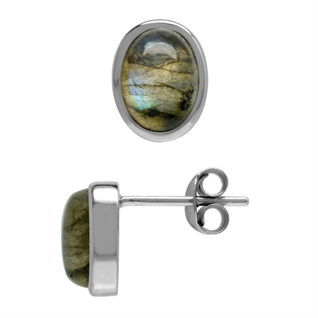 Natural Oval 8x6 mm Labradorite 925 Sterling Silver Stud Post Earrings