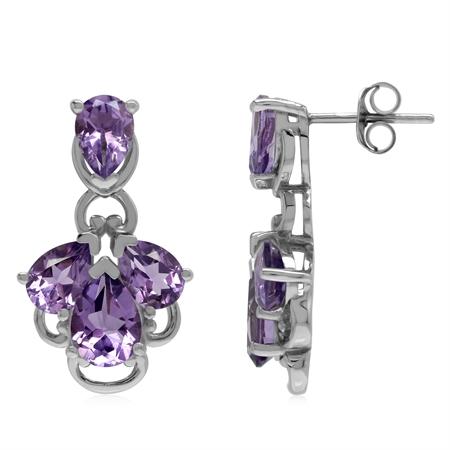 Genuine 5.7 Ctw Purple Amethyst 925 Sterling Silver Modern Contemporary Stiff Post Earrings