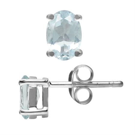 Petite Oval 6x4mm Very Light Blue Genuine Aquamarine 925 Sterling Silver Stud Earrings