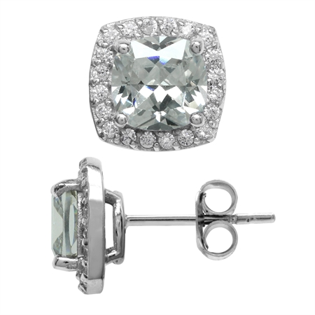 5 Ct 7MM Cushion Cut White Cubic Zirconia CZ 925 Sterling Silver Halo Stud Earrings