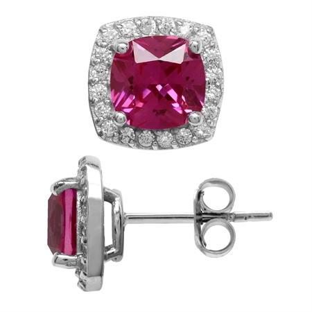3.6 Ct 7MM Cushion Cut Created Pink Tourmaline 925 Sterling Silver Halo Stud Earrings