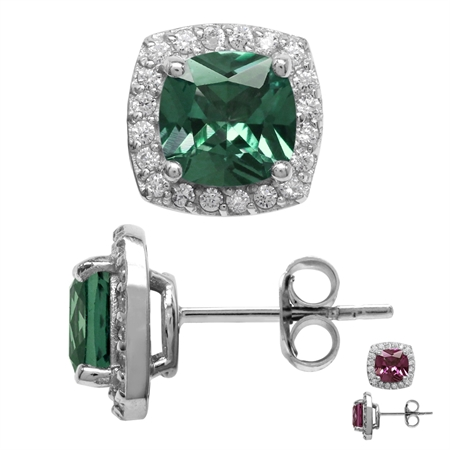 2.6 Ct 7MM Cushion Cut Created Color Change Alexandrite 925 Sterling Silver Halo Stud Earrings