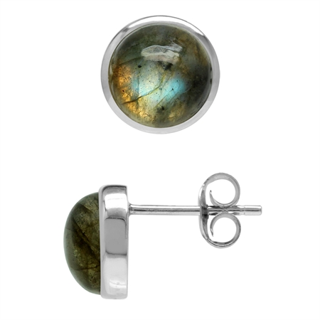 Natural 8 mm Labradorite 925 Sterling Silver Round Stud Earrings