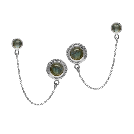 Labradorite 925 Sterling Silver Double Stud with Chain Earrings for Two Holes