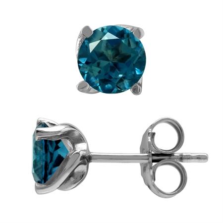 2 Ct 6MM Genuine London Blue Topaz Gemstone 925 Sterling Silver Stud Earrings