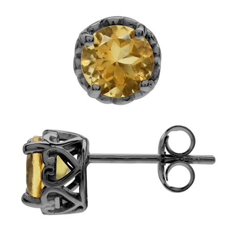 1.5 CT Citrine Black Rhodium Plated 925 Sterling Silver Victorian Style Stud Post Earrings