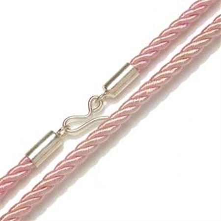 3MM Synthetic Pink Silk Cord Sterling Silver Necklace