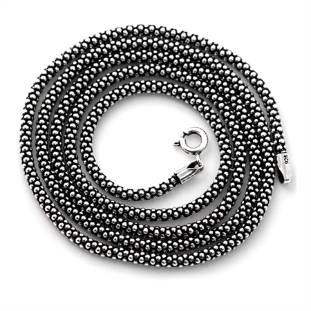 Oxidized 2.8MM 925 Sterling Silver Popcorn Chain Necklace 24 Inch