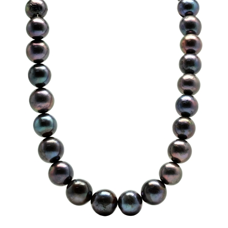 12-15MM Graduated Cultured Black Pearl 925 Sterling Silver 16-18 Inch Adjustable Necklace