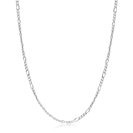 1.7MM Figaro Chain 925 Sterling Silver Necklace - 16 Inch.
