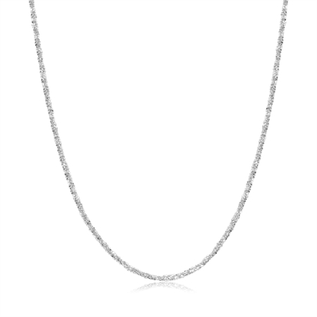 1.2MM Twisted Diamond Cut Chain 925 Sterling Silver Necklace - 18 Inch.