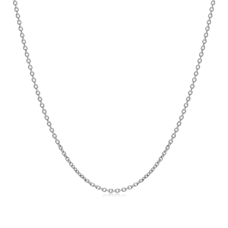 1.2MM White Gold Plated 925 Sterling Silver Single Cable Chain Necklace 18 Inch