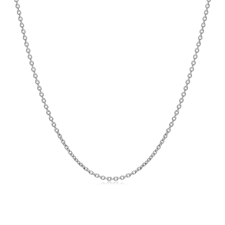 1.2MM White Gold Plated 925 Sterling Silver Single Cable Chain Necklace 16 Inch