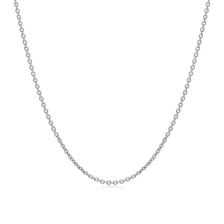 1.2MM White Gold Plated 925 Sterling Silver Single Cable Chain Necklace 17 Inch