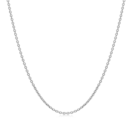 1.2MM White Gold Plated 925 Sterling Silver Single Cable Chain Necklace 19 Inch