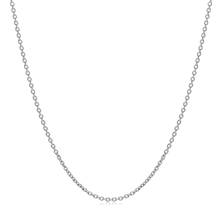 1.2MM White Gold Plated 925 Sterling Silver Single Cable Chain Necklace 22 Inch