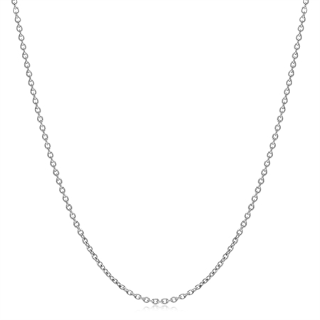 1.2MM White Gold Plated 925 Sterling Silver Single Cable Chain Necklace 26 Inch