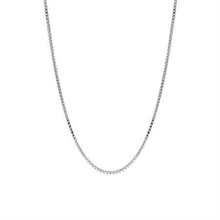 1 mm 925 Sterling Silver Venetian Box Chain Necklace with Rhodium Plating 14 Inch
