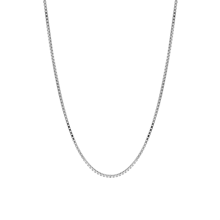 1 mm 925 Sterling Silver Venetian Box Chain Necklace with Rhodium Plating 16 Inch