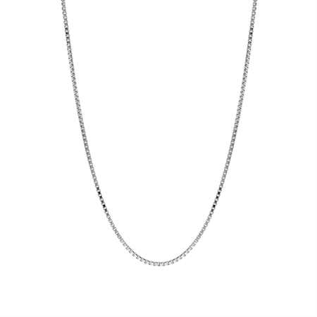 1 mm 925 Sterling Silver Venetian Box Chain Necklace with Rhodium Plating 18 Inch