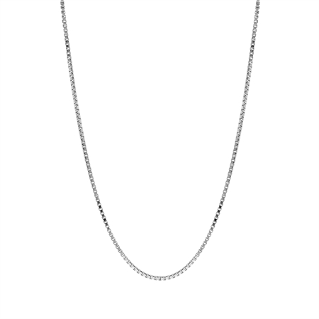 1 mm 925 Sterling Silver Venetian Box Chain Necklace with Rhodium Plating 22 Inch