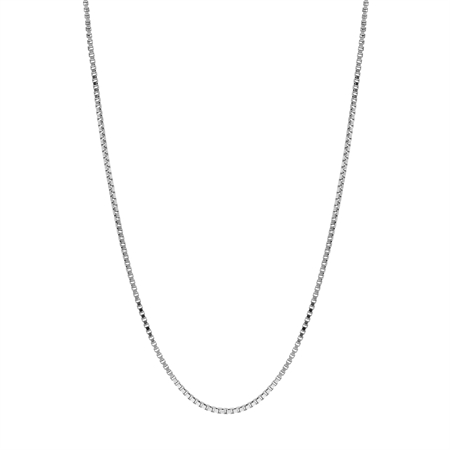 1 mm 925 Sterling Silver Venetian Box Chain Necklace with Rhodium Plating 26 Inch