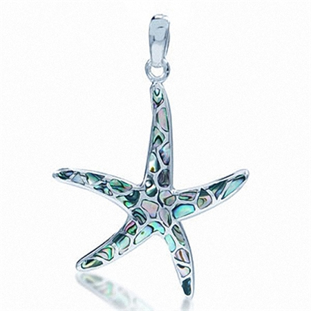 Abalone/Paua Shell Inlay White Gold Plated 925 Sterling Silver Starfish Pendant