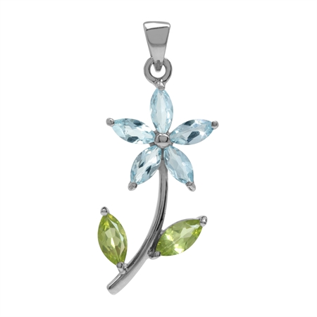 Genuine Blue Topaz & Peridot White Gold Plated 925 Sterling Silver Flower Leaf Pendant