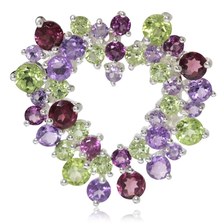 Natural Peridot, Amethyst & Rhodolite Garnet White Gold Plated 925 Sterling Silver Heart Pendant
