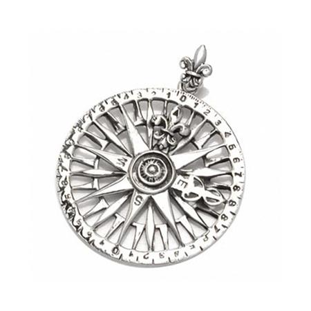 Heavy-Fleur De Lis COMPASS 925 Sterling Silver Pendant