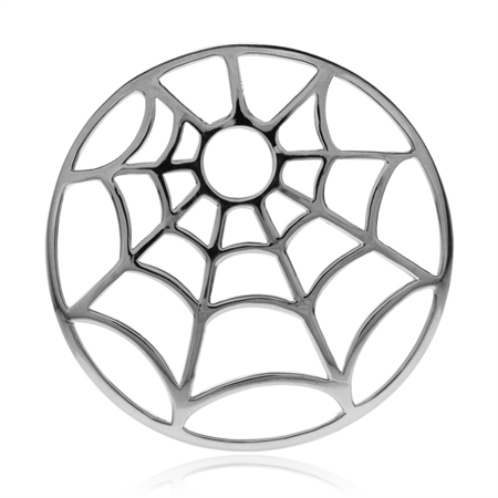 44MM 925 Sterling Silver Spider Web Design BIG Pendant