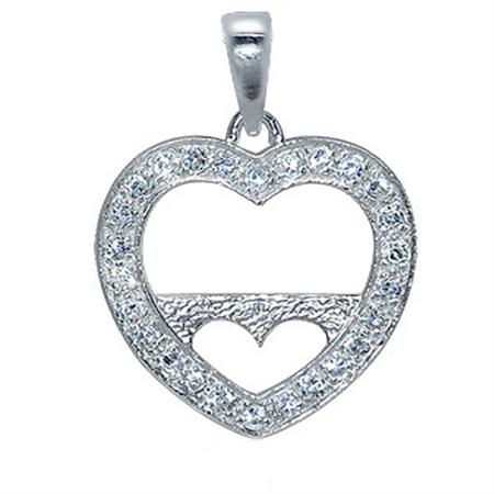 White CZ Heart Frame Sterling Silver Pendant