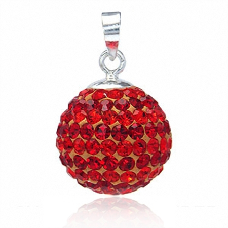 14MM Orange Red Crystal Ball Sterling Silver Pendant