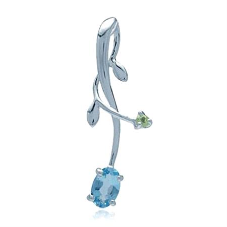 Genuine Blue Topaz & Peridot 925 Sterling Silver Vine Leaf Pendant